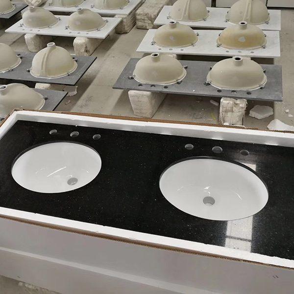 Natrual granite -prefab vanity top-Black Galaxy,prefab countertop,barthroom countertop